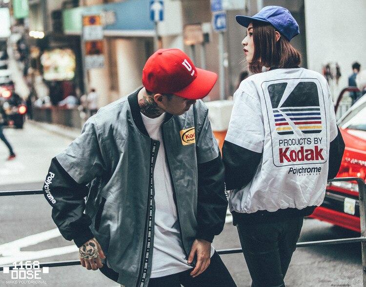 Japonés estilo Hip Hop MA1 chaqueta de Harajuku piloto de la calle de impresión kodak chaquetas de los hombres las mujeres abrigo marca ropa prendas de vestir exteriores