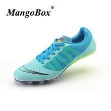 7bb7a4b22b4 Unisex Spikes Schoenen Voor Running Groen Paars Outdoor Tracking Schoenen  Antislip Running Nagels Sneakers Merk Kinderen