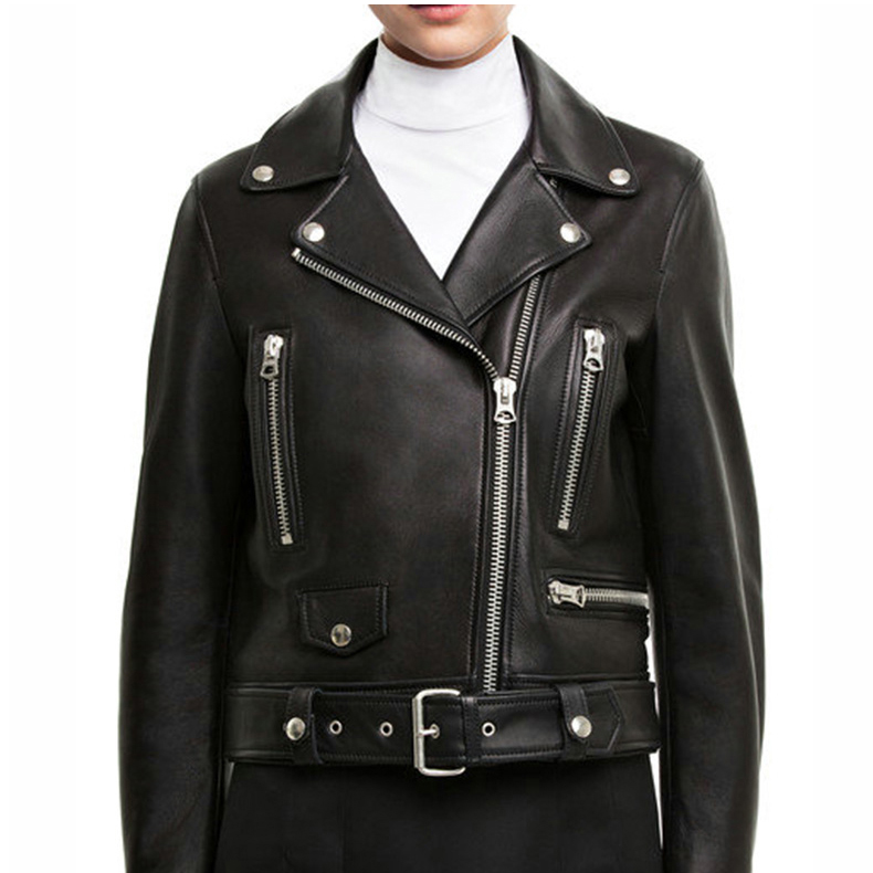 7877b543ef Cockscomb European and American Leather Jacket Women Turn Down Collar  Zippers Studs Real Sheepskin Leather Coats for Autumn - us676