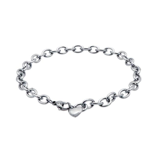 8d3712ff4 Simple Stainless Steel O Chain Charm Bracelet With Lobster Clasp Gift for  Women or Teen Girls