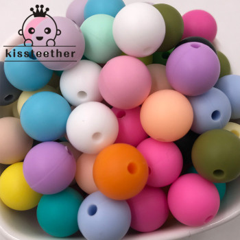 100pc Silicone Baby Teething Teether Beads 12mm Safe Food Grade Care Chew Round Necklace