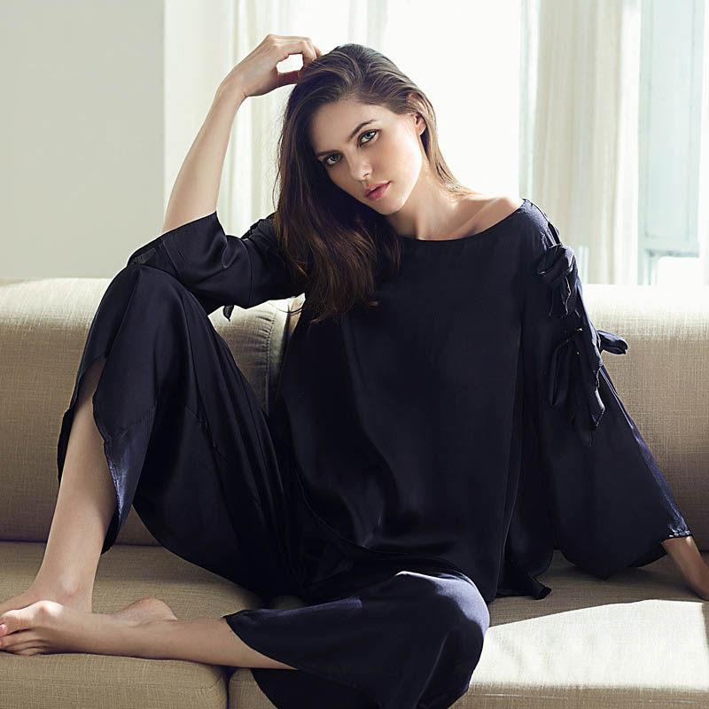 Qianxiu women autumn new ice silk pajama set loose plus size Can wear  outside pyjamas women 8d4ab8f44