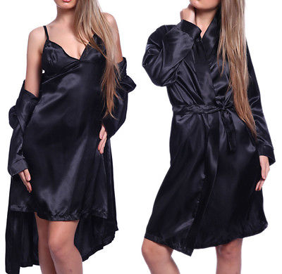 ITFABS Newest Arrivals Fashion Hot Sexy Lady Satin Robe Sleepwear Lingerie Nightdress G-string Pajamas Nightwear Sexy Sleepwear