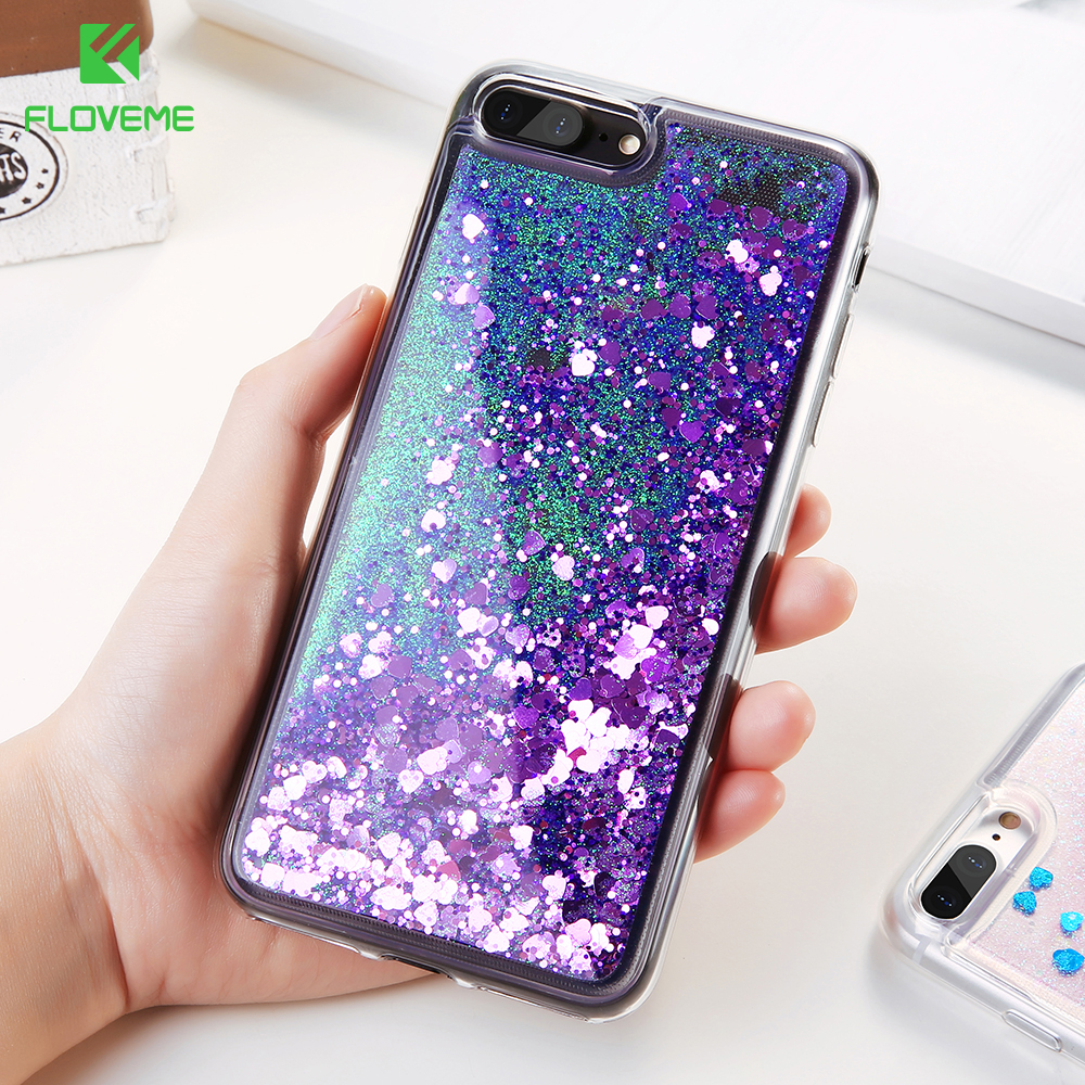 FLOVEME Glitter Quicksand Cover For iPhone 7 6 6S Plus Case Sunshine Sequin Phone Cases For iPhone 6 6S 7 5 5S SE Silicon Shell