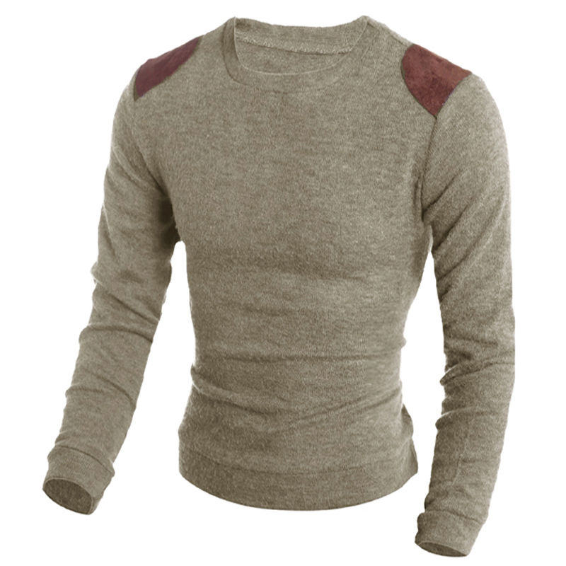 Fashion Classic Thin Leather Patch Men Pullover Sweaters Male Homme O-Neck Slim