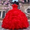 Red Vestidos Quinceanera 2017 Vestidos De Quinceanera 15 Anos Querida Fora Do Ombro Vestido Debutante Meninas Vestidos de Festa de Formatura