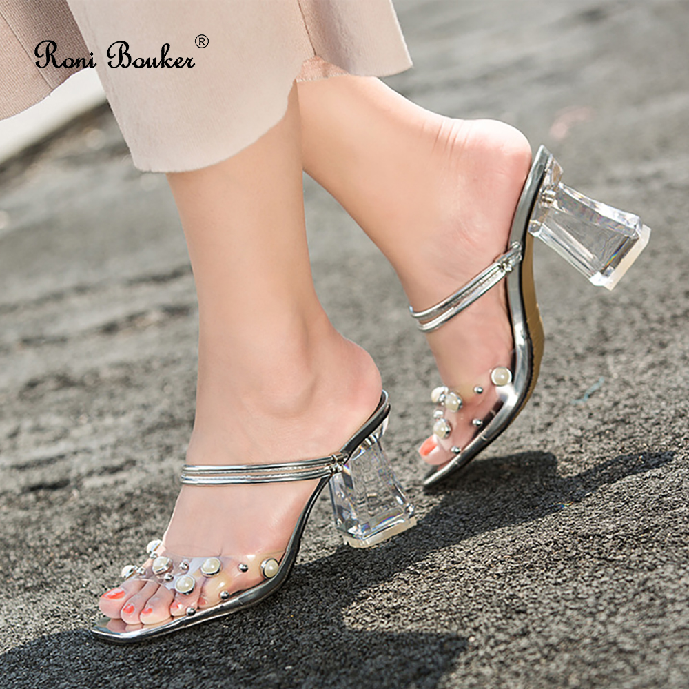 New Summer Transparent Heel Sandals Crystal Women Shoes Fashion Solid Color Peep Toe Woman Outdoor Slippers Discount Slides7.5CM