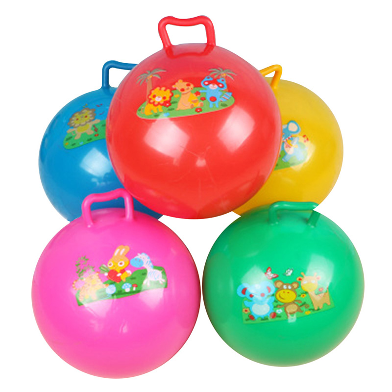 toy baby play ball with handle color random game sport toys 22cm Lovely bouncing massage horn inflatable