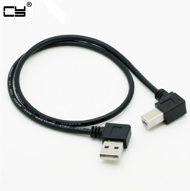 Double Right Angle Elbow USB 2.0 Male AM To USB B BM Type Right Angled Data Charging Cable For USB2.0 Printer And Scanner 50cm