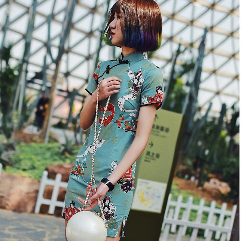 2018 nouveau style quotidien porter amélioré qipao femmes robe courte style imprimé à manches courtes pur coton sexy mini mode cheongsam