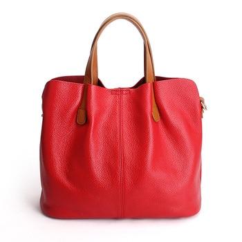 Genuine Leather handbags head layer cowhide litchi grain women handbags fashion Portable shoulder messenger bags composite bags