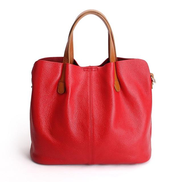 Genuine Leather handbags head layer cowhide litchi grain women handbags fashion Portable shoulder messenger bags composite bags 1