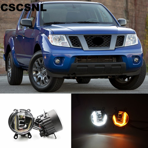 3-IN-1 Functions Auto LED DRL Daytime Running Light Car Projector Fog Lamp with yellow signal For Nissan Frontier 1998 - 2015