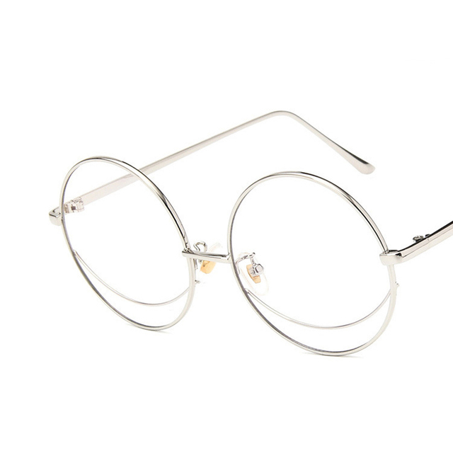 6a2624521516 2018 Vintage Oversized Eyeglasses Frame Retro Clear Lens Metal Frame Round Glasses  Women Men Classic Flat