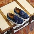 2017 primavera outono brilho bebê meninos cravejados shoes meninas rebites shoes for kids moda rocha calçado infantil shoes