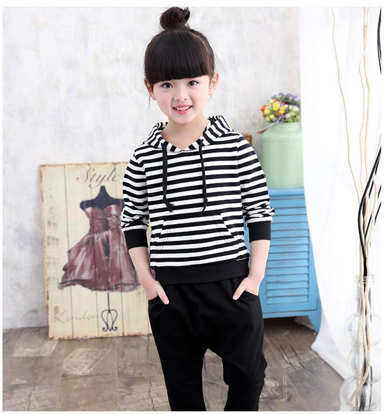 New Style Cotton Girls Clothes Striped Hoodies Black Pants 2pcs Children Clothing Casual Spring Autumn Kids Suits Toddlers Teens