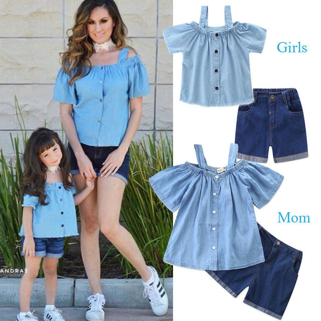 ca0d86a1dcf 2018 Mother and Daughter Clothes Parent child Outfits Family Matching Denim  Tops+Shorts Pants 2pcs Summer Fashion Set