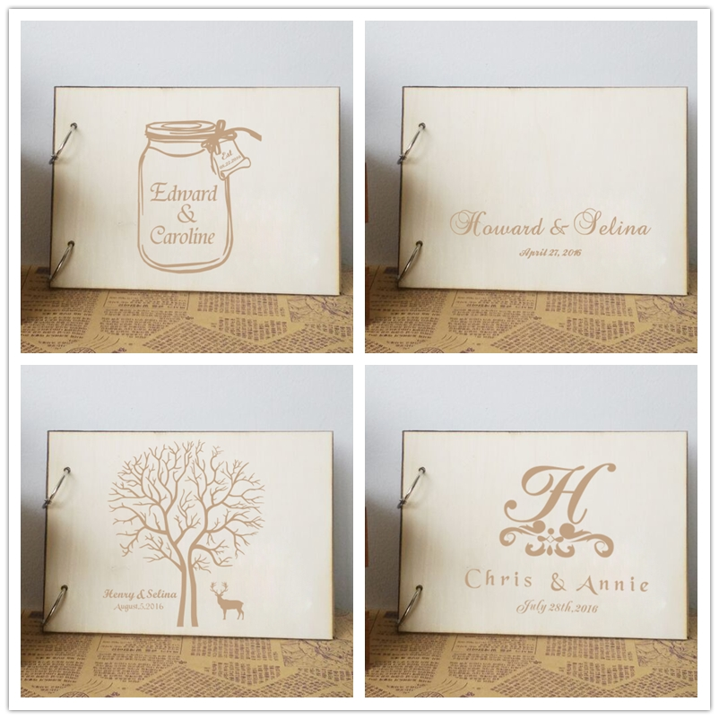 Wooden Wedding Album: Personalized Wedding Guest Book ,Wooden Wedding Photo