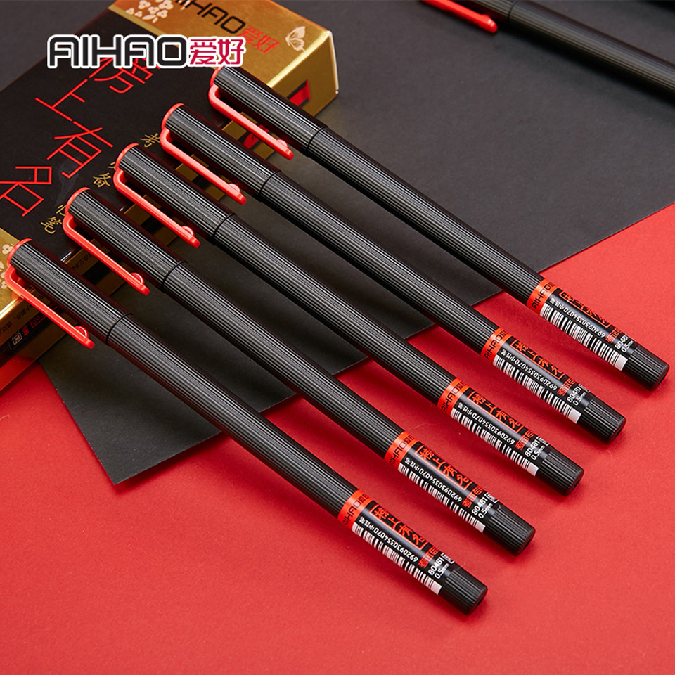 AIHAO Gel Pen Black Ink 0.5mm Superior Quality Very Good Writing Gel Ink Pens Office & School Neutral Pen Supplies 6Pcs/lot