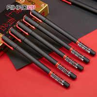 Aihai Gel tinta negra para bolígrafo 0,5mm calidad Superior muy buena escritura Gel tinta bolígrafos Oficina y Escuela Neutral pluma suministros 6 unids/lote