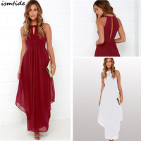 Chiffon Dress Maxi Women Chiffon Dresses Solid Sexy Party Halter Neck Off Shoulder Split Hollow Fold Pleated Red White Dress
