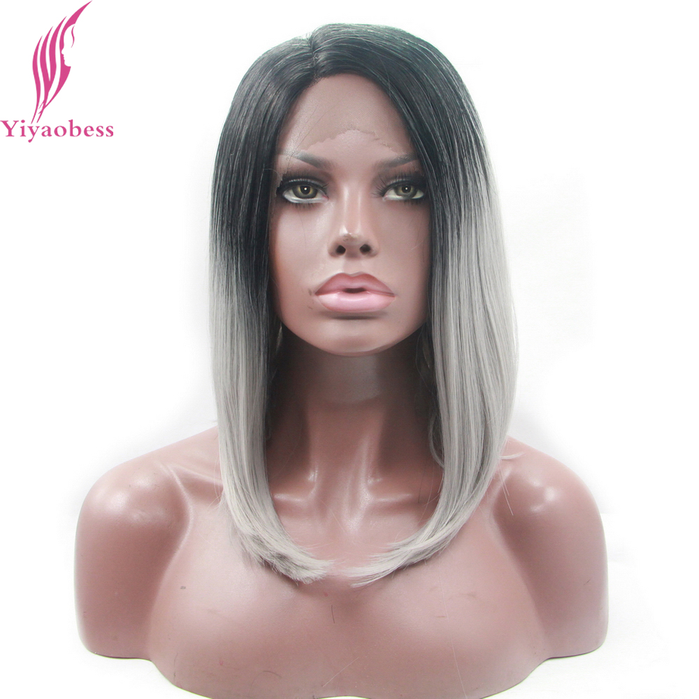 Yiyaobess 14inch Straight Lace Front Wig Synthetic Glueless Black To Dark Grey Ombre Short Bob Wigs For African American Women