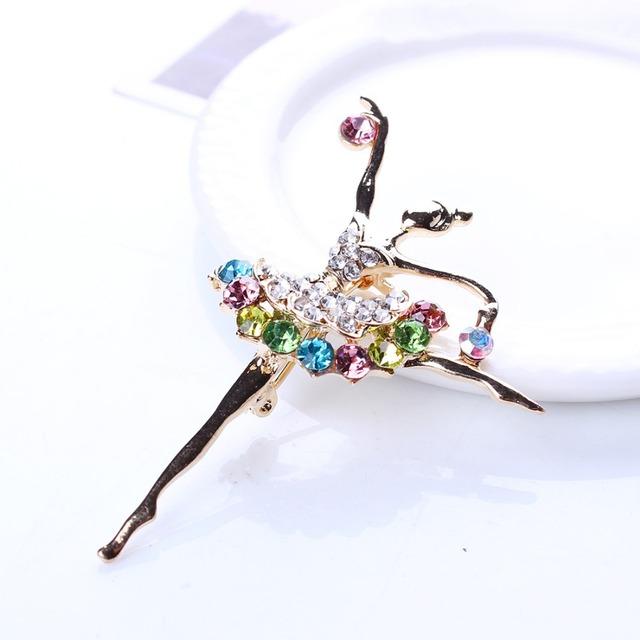 Ballerina Ballet Dancer Girl Full Colorful Rhinestone Brooch