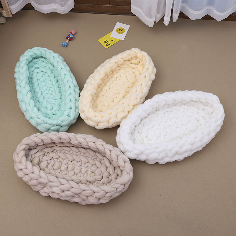 Newborn Baby Photography Knitting Basket Background Soft Toddler Sleeping Bag Photo Props BM88