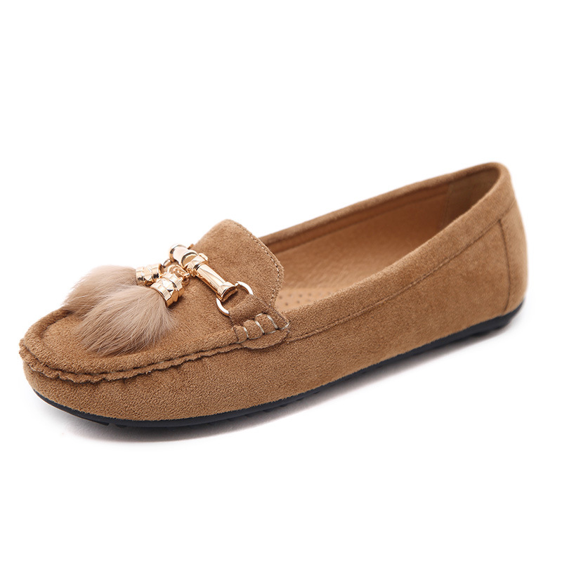 Fashion Plush Ball Women Flat Shoes Comfortable Brown Slip On Students Shoes For Gilrs Black Ladies Casual Shoes Size 35-41