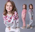 Девушки Новые Осенние Костюмы детская Цветочный Печати С Длинным Рукавом Случайные Спортивные Костюмы Дети Толстовки Кофты Наборы