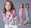 Nuevas chicas Otoño Impresión de La Flor de Manga Larga de Los Chándales de Los Niños Se Divierte Los Juegos Casuales Niños camisetas de Los Hoodies Sets
