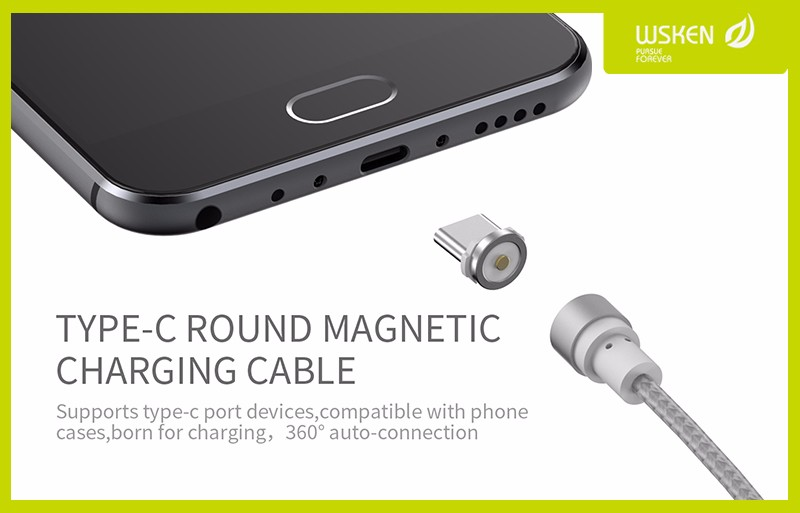Magnetic-Type-C-Adapter-USB-Fast-Charger-Cable-Original-WSKEN-Round-Cable-For-Xiaomi-Huawei-Oneplus
