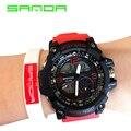 Marca sanda reloj de los hombres relojes deportivos relojes militares led digital de alarma para hombre del cronógrafo de cuarzo relojes de pulsera relogio masculino