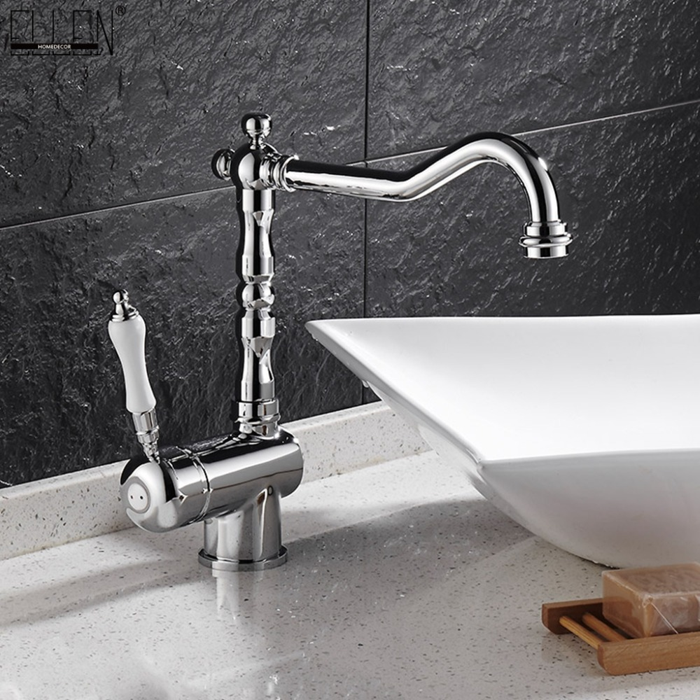 Deck Mounted Tall Bathroom Faucet Vessel Sink Faucets Hot and Cold Water Mixer Tap Chrome Crane Single Handle ELF9087Deck Mounted Tall Bathroom Faucet Vessel Sink Faucets Hot and Cold Water Mixer Tap Chrome Crane Single Handle ELF9087