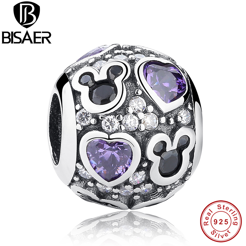 Accessories 925 Sterling Silver Charms Fit Original Pandora Bracelet Purple Love Heart Cartoon Jewelry Making Baby