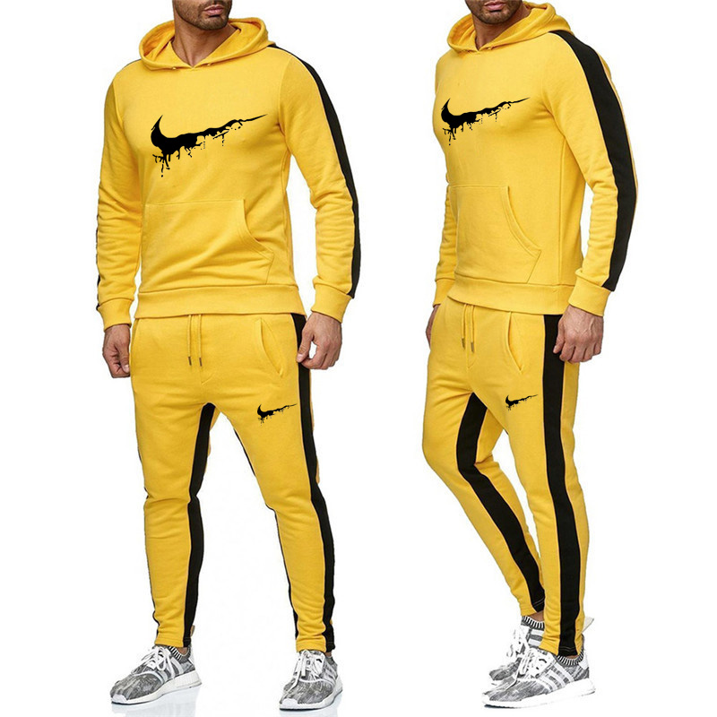 2019 New Brand Printing Hooded Street Clothing Hip Hop 5 Color Sports Hoodie + Sports Trousers Mens Autumn And Winter Suit