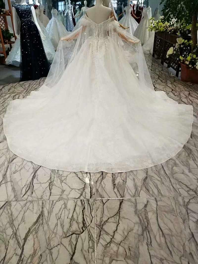 LS179445 מתוקה קריסטל שמלות כלה עם חרוזים מיוחד כבוי כתף שרוולים קצרים כלה חתונה שמלת 2018 האחרון עיצוב