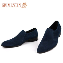 GRIMENTIN 2017 Brand Italian Mens Shoes Casual Slip On Suede Genuine Leather Loafers Black Business Wedding Male Shoes Men Flats