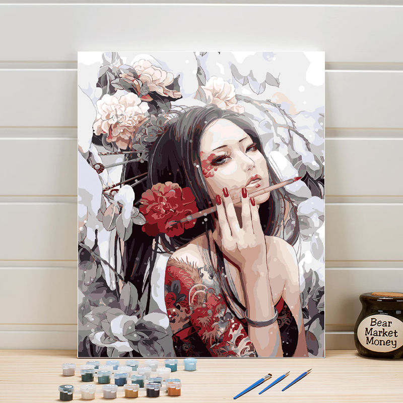 DIY Paint By Number Canvas Acrylics Artwork Coloring Picture Hand Drawing Oil Painting For Bedroom Wall Home Decoration 40x50cm
