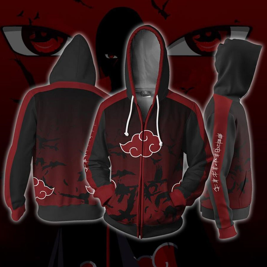 Naruto Hoodie Anime Cosplay Akatsuki Costume New Sweatshirts Black Red Jacket 3D Men Women hoodies College clothing