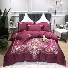 Purple Blue Pink Green Luxury Gold Royal Embroidery 100S Egyptian Cotton Bedding Set Duvet Cover Bed sheet Linen Pillowcases