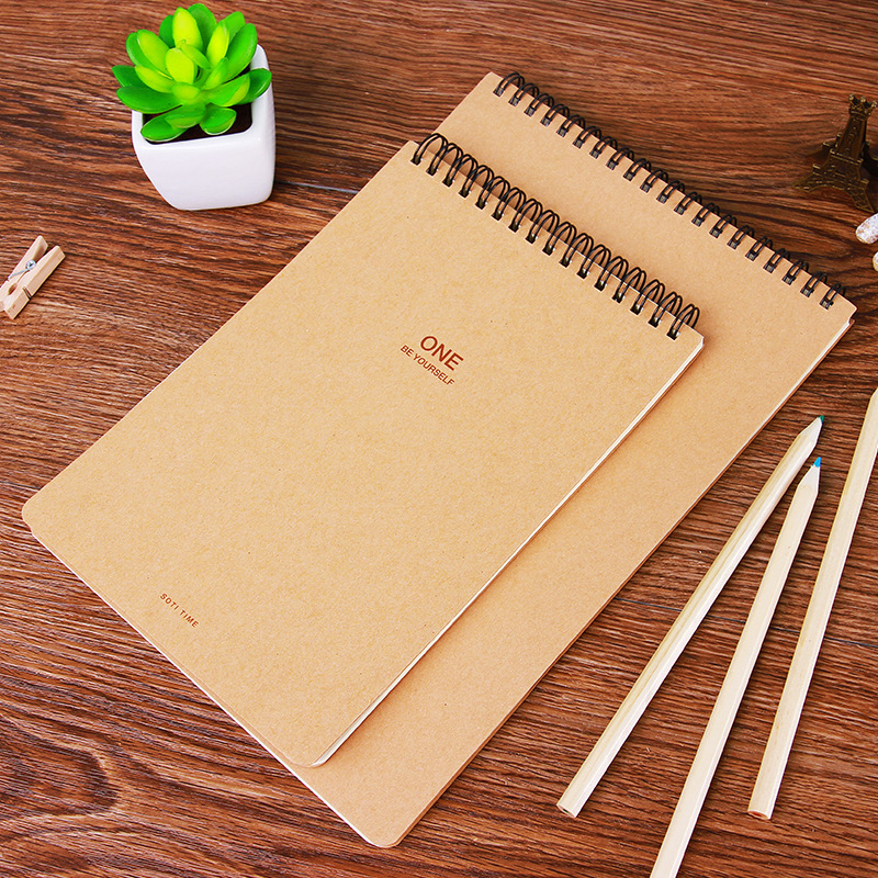 Simple Lined Sketchbook Diray 60 Sheets SketchBook Kraft Spiral Journal Dairy Paper Book Spiral Notebook For School Office A4 A5