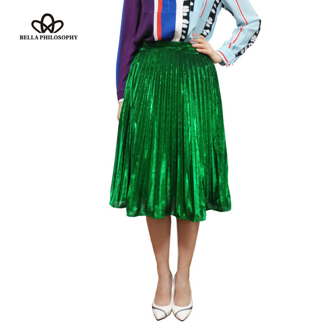 2016 spring summer new metal color pleated  green blue red women long  skirt