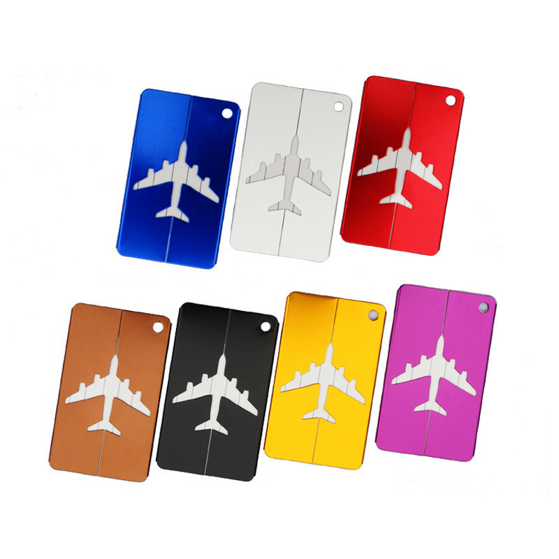 FGGS-Metal Travel Bag Tags Luggage Tag Boarding Creative Card Aircraft Luggage Tags Suitcase ID Address Name Tag