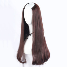 Gres Wavy Dark Brown U Part Wigs Machine Made Long Artifical
