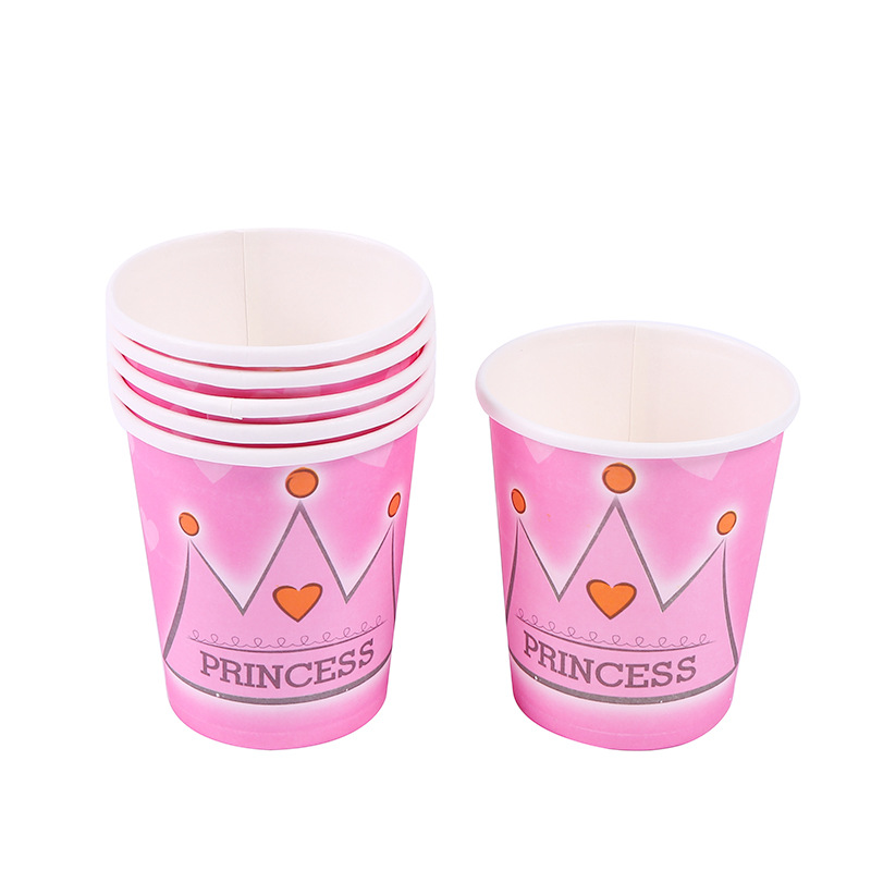 10pcslot  Red Princess crown Disposable paper Cups Birthday Party Decorations Kids Baby Shower Supplies Paper Cups Party Favors