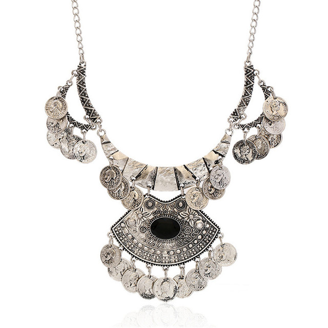 Collares za mulheres 2017 do vintage da moda boemia maxi turca colar de moeda de prata borla choker colar n1164 gros collier femme