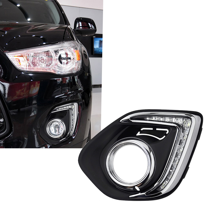 New Car Accessories LED DRL Daytime Running Lights Daylight Fog light LED fog lamp for MITSUBISH ASX 2013 2014 4in1 daytime running light 12v 12w led car emergency strobe lights drl wireless remote control kit car accessories universal