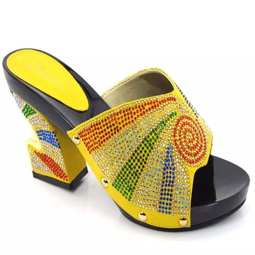 she24 yellow free shipping high heel shoes women fashion heels pumps african wedding shoes with stones