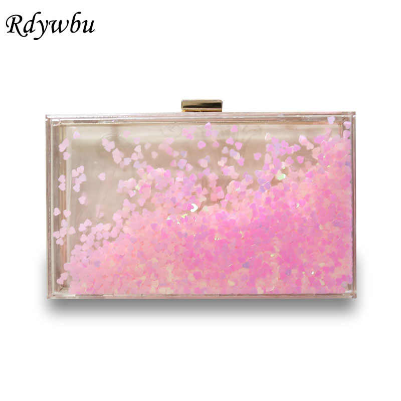 ade0f638b0 Rdywbu Transparent Sequined Evening Bag Women's Acrylic Liquid Flow Sand  Box Clutches Shiny Party Chain Purse Handbag Bolsa B542